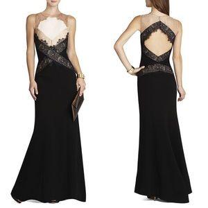 BCBG Maxazria 'Aida' Black Openback Lace Gown 8